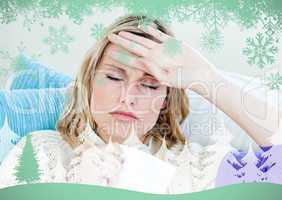 Sick woman with headache lying on the sofa in the livingroom