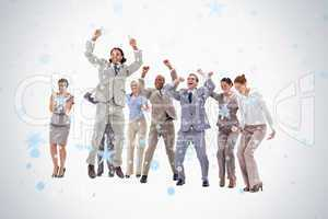 Very enthusiast business people jumping and raising their arms