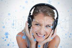Close up of a happy woman listening to music