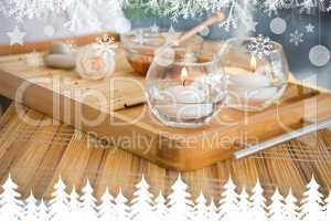Candles and beauty treatment on tray