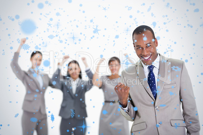 Successful business team with a man in the foreground