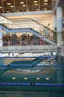 Empty swimming pool with lane markers