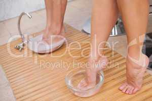 Customers cleansing their foot