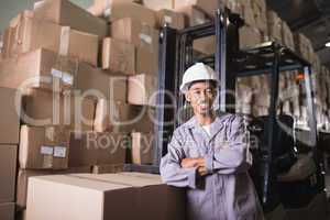 Manual worker in warehouse