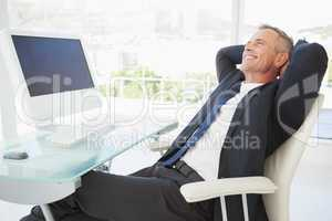 Relaxing businessman enjoy his day