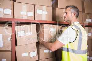 Worker loading up shelf in warehouse