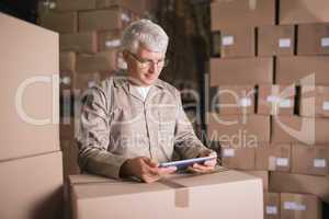 Warehouse worker using digital tablet