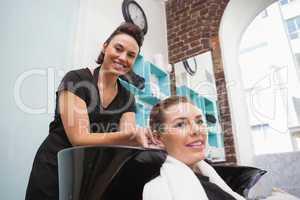 Customer getting their hair dried
