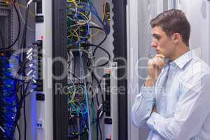 Technician searching for a solution in the server case