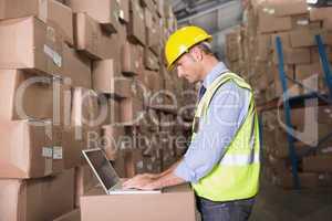Workman using laptop at warehouse