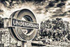 LONDON - SEPTEMBER 28, 2013: Subway sign on the street. London s