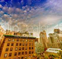 Buildings and roof garden in Manhattan. Amazing view at sunset i