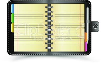open black notebook