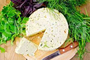 Cheese homemade round with greens on board
