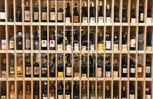Wine bottles in wine store