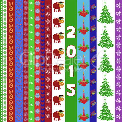 New Year 2015 greeting card with vertical strips