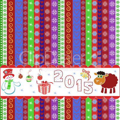 New Year 2015 striped greeting card