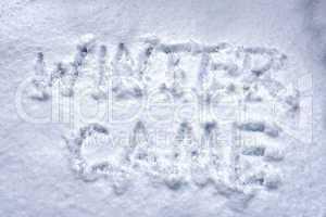 inscription winter came on fresh snow