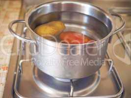 Saucepot on cooker