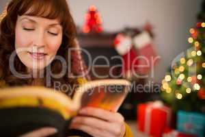Beauty red hair reading a boo at christmas
