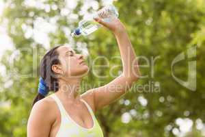 Pretty brunette pouring water over herself