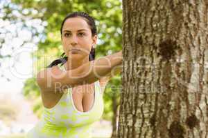 Focused brunette stretching against a tree