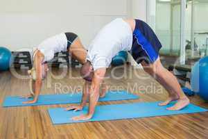 Sporty couple in bending posture at fitness studio