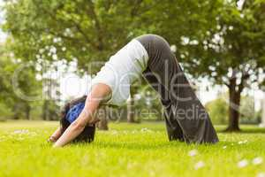 Brunette in dolphin pose in the park