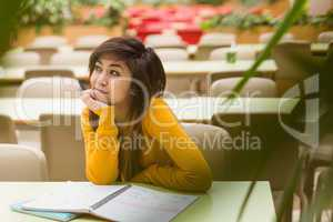 College student doing homework in canteen