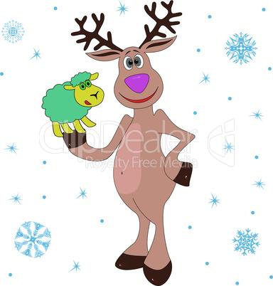 Christmas Reindeer holding a little sheep