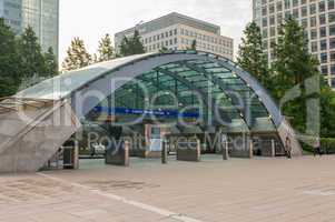 LONDON - AUG 20, 2013: Underground station of Canary Wharf. Cana