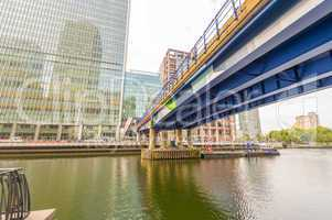 Bridge over the river in Canary Wharf financial district, London