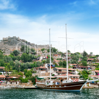 sailing ship in the sea bay
