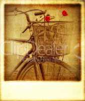 Old vintage effect instant photo of bicycle