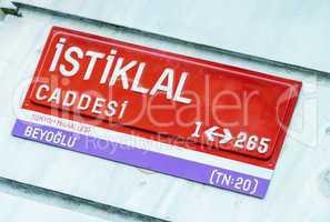 Istiklal Caddesi. Istanbul. Street sign
