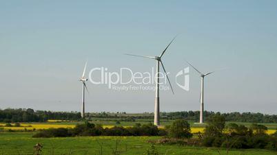 The green grassy field with windmills FS700 4K Odyssey7Q