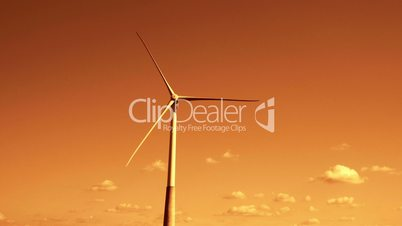 Close up of the three-bladed windmill with the red sky FS700 4K RAW Odyssey 7Q