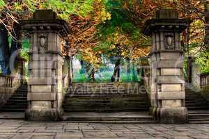 Elegant sandstone staircase entrance to park