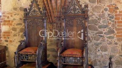 The kings chair displayed inside the old castle in Trakai GH4 4K UHD