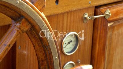 Details of the old-style steering wheel of the galleon ship GH4 4K UHD