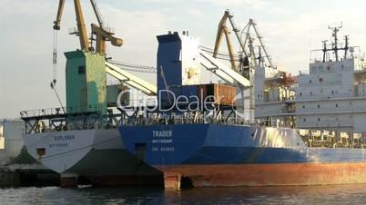 Two icebreaker ships on dock on the harbour port GH4 4K