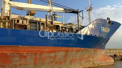 The old rusty blue and red icebreaker ship named Trader GH4 4K