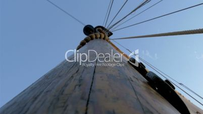 The sail mast of the big ship or boat on dock GH4 4K