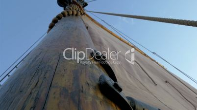 A sail mast of the ship with a big cloth for sailing GH4 4K