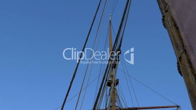 Set of ropes on the sail mast of the big ship on dock GH4 4K