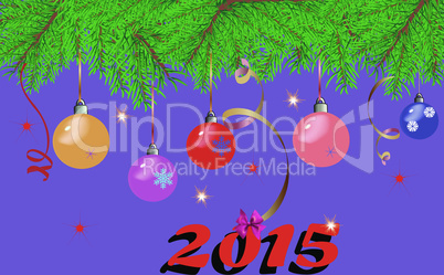 Christmas background with fir branches, colorful Christmas toys