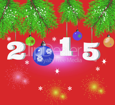 Christmas background with fir branches, balls and fireworks