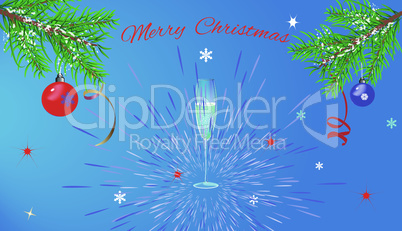 greeting Christmas card on blue background