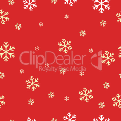 seamless pattern with snowflakes on a red background. Vector