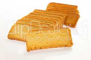 Rusks in perspective isolated on white